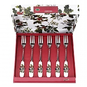 Holly & Ivy Pastry Fork Set of 6