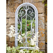 Scrolled Arch Metal Garden Wall Mirror