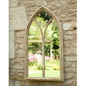 Church Window Metal Garden Wall Mirror