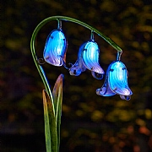 Solar Bluebell Glass Flower Stake