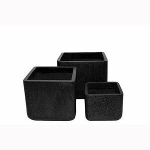 Cadix Terrazzo Cube Planter - Black