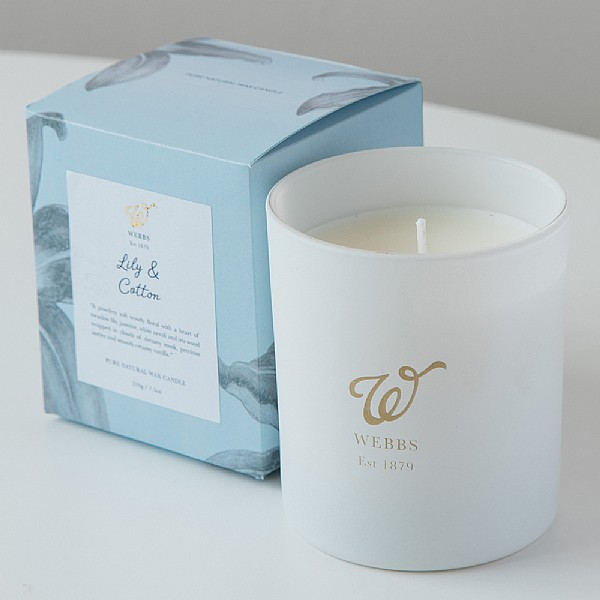Webbs Lily and Cotton Scented Candle