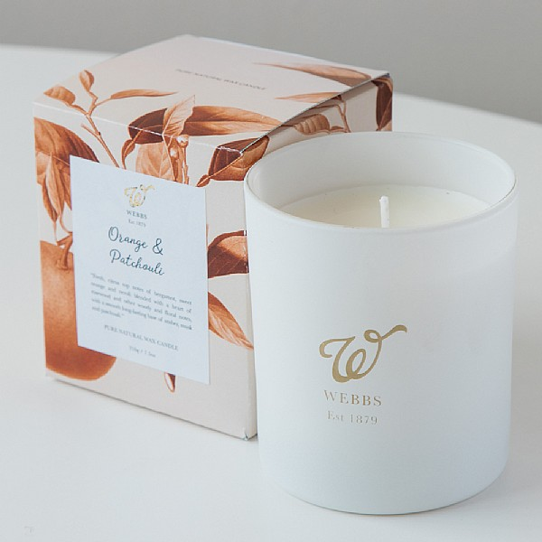 Webbs Orange & Patchouli Scented Candle