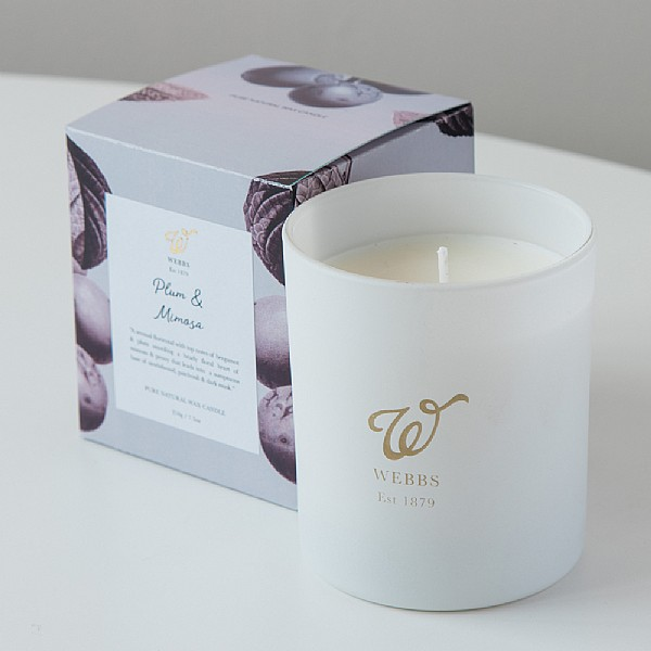 Webbs Plum & Mimosa Scented Candle