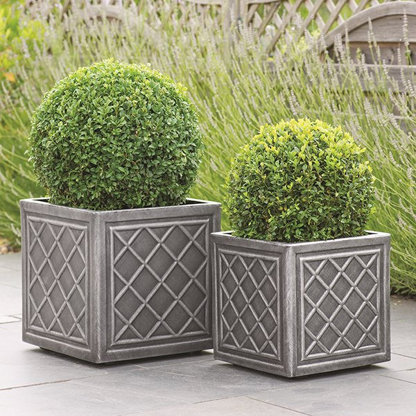 Lead-effect planters (plants not included)