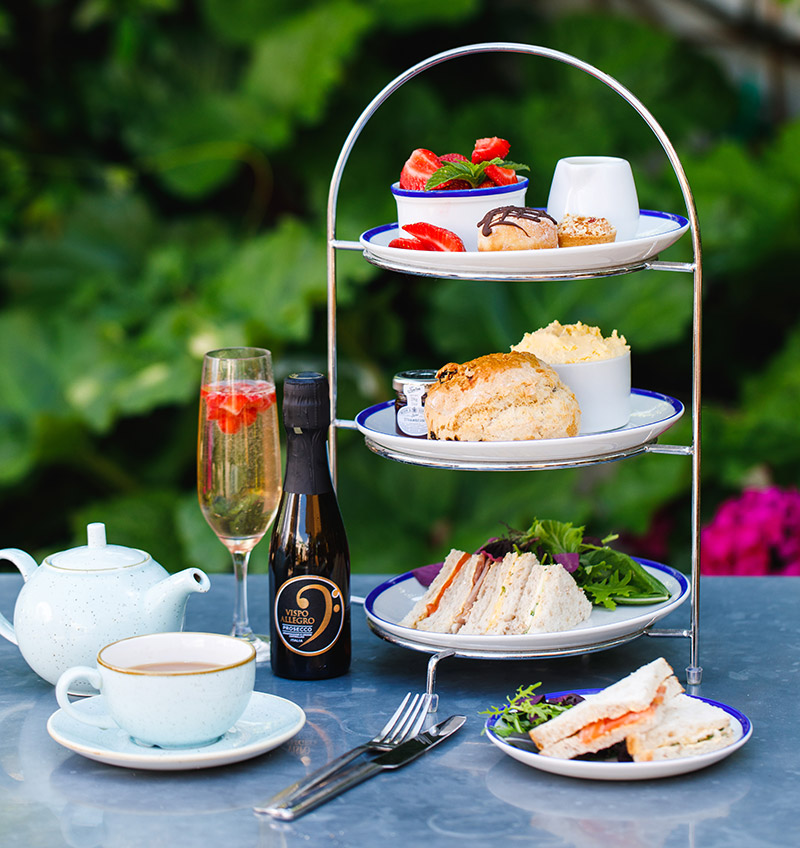 Summer afternoon tea with prosecco at Webbs