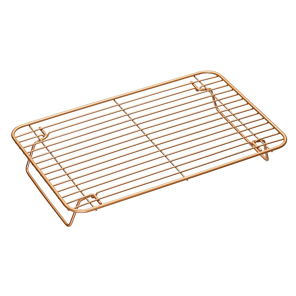 KitchenCraft MasterClass Smart Ceramic Non-Stick Folding Metal Roasting//Cooling Rack Copper Finish 35 x 22 cm