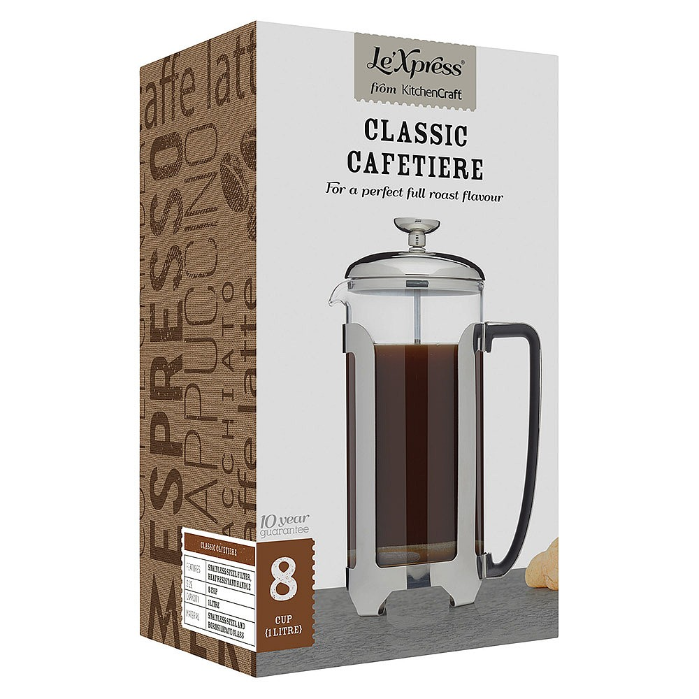 Lexpress Stainless Steel 8 Cup French Press Cafetiere 1 Litre