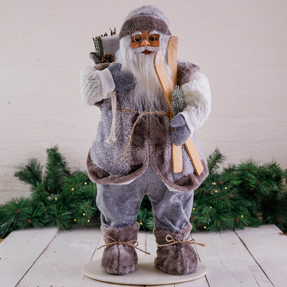 60cm Grey Standing Santa Decoration With Skis Christmas Ornaments Figures Webbs Garden Centre