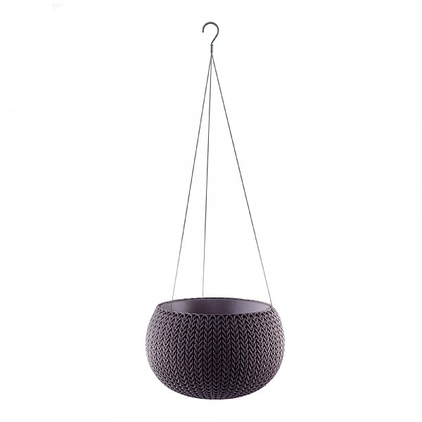 Stewart Garden Knit Collection Hanging Planter 36cm Smoked Purple