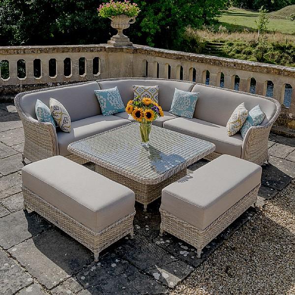 7ddb8f4e0290 Bramblecrest Aspen Square Adjustable Casual Dining Set   Rattan Garden  Furniture   Webbs Garden Centre