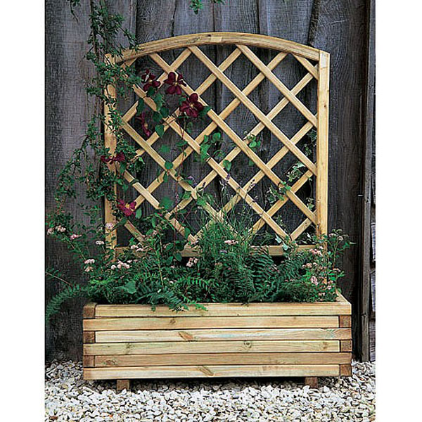 Toulouse Wooden Planter With Trellis Wooden Metal Planters