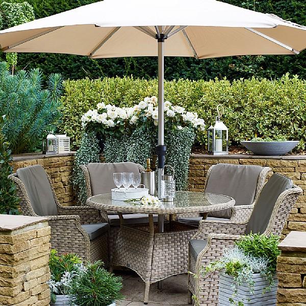 57b228497e2f Frampton 4 Seater Round Set   Weave Garden Furniture   Webbs Direct ...