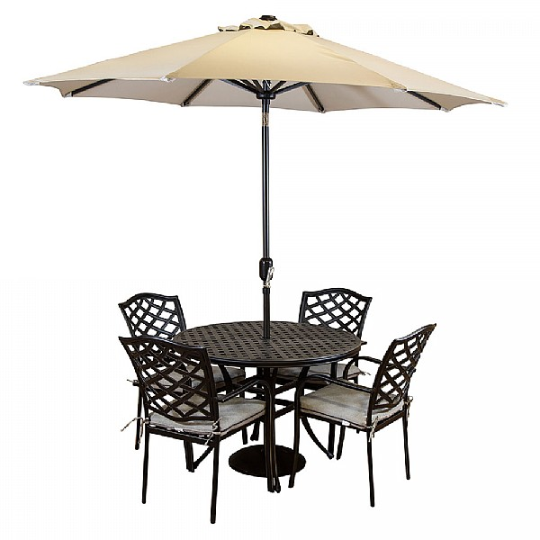 hartman beaumont 4 seater round set cast aluminium garden furniture webbs garden centre