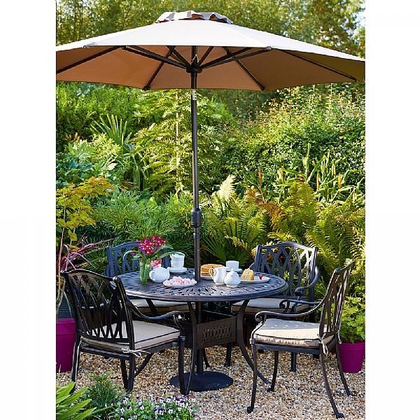 Hartman florence 4 seater round set cast aluminium garden furniture webbs garden centre