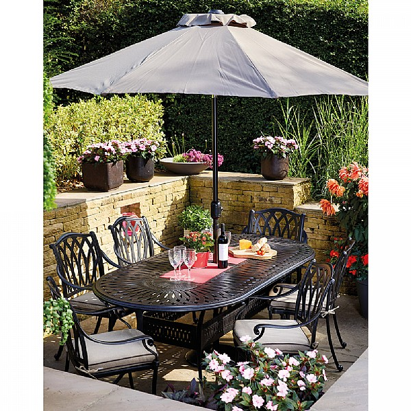hartman florence 6 seater oval set cast aluminium garden furniture webbs garden centre - Garden Furniture 6 Seater Sets
