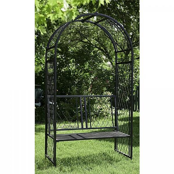 Panacea Lattice Arch With Bench Black