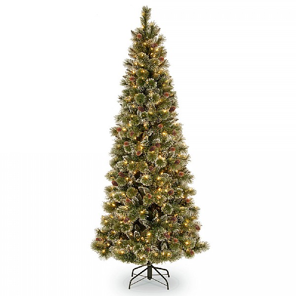 6.5ft Pre-Lit Glittery Bristle Pine Artificial Christmas Tree ...