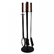 Leather Handle 4 Piece Fireside Companion Set
