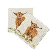 Kate of Kensington Highland Cow Marble Coasters (Set of 2)