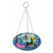 Decorative Hummingbird Hanging Glass Birdbath