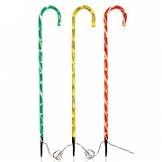Set of 3 Multi Coloured LED Candy Cane Path Lights