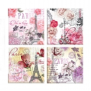 4 Parisian Design Glass Coasters
