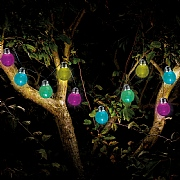Smart Solar Crackle Globe Multi Coloured LED Solar String Lights- 10 Globes