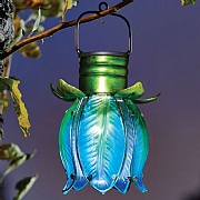 Smart Solar Blue Hanging Flower Lantern