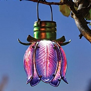 Smart Solar Purple Hanging Flower Lantern