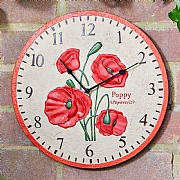 Outside In Poppy Wall Clock 12""