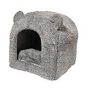 Rosewood 40 Winks Teddy Bear Hooded Cat Bed - Grey