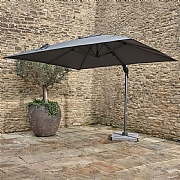 Bramblecrest Chichester 3m Square Grey Side Post Parasol with Base