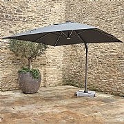 Bramblecrest Truro 3m Square Grey LED Side Post Parasol with Base
