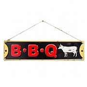La Hacienda BBQ Embossed Metal Sign