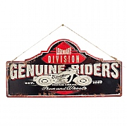 La Hacienda Genuine Riders Embossed Metal Sign