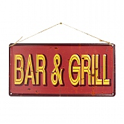 La Hacienda Bar & Grill Embossed Metal Sign