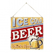 La Hacienda Ice Cold Beer Embossed Metal Sign