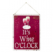 La Hacienda It's Wine O'Clock Embossed Metal Sign