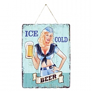 La Hacienda Ice Cold Beer Corrugated Embossed Metal Sign