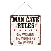 La Hacienda Man Cave Corrugated Embossed Metal Sign