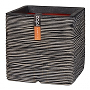 Cadix Capi Nature Anthracite Square Planter Rib NL 30x30x30cm