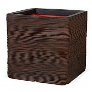Cadix Capi Nature Dark Brown Square Planter Rib NL 30x30x30cm