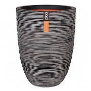 Cadix Capi Nature Anthracite Elegant Low Vase Planter Rib NL 36x47cm