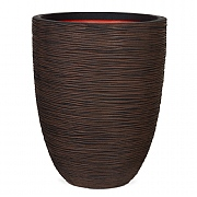Cadix Capi Nature Dark Brown Elegant Low Vase Planter Rib NL 36x47cm
