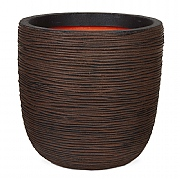 Cadix Capi Nature Dark Brown Ball Planter Rib NL 35x34cm