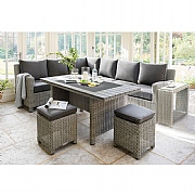 Kettler Palma RH Casual Dining Set with Side Table White Wash (Slat Top)