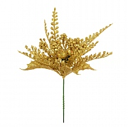 Gold Berry & Fern Leaf Pick 17cm