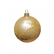 Gisela Graham Matt Gold & Gold Glitter Snowflake Glass Bauble 80mm