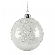 Gisela Graham Pearlised White with Beads Bauble 80mm